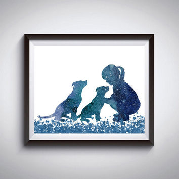 Dogs print, Pit bull art, Girl with dogs, Blue watercolor, Kids room decor, Poster print, Modern minimalist, Dog painting, Instant download