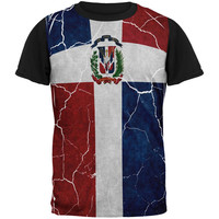 Distressed Dominican Republic Flag All Over Mens Black Back T Shirt
