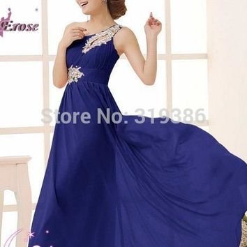 Popular A-Line Beaded Keyhole One Shoulder Long Chiffon Prom Dresses Party Gown in Lace-up Back for Sale