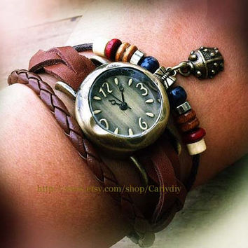 Students bracelets table, fashion and personality beetle pendant - women leather woven bracelets table