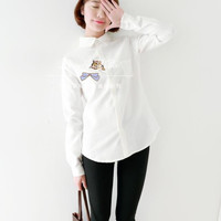 Literary fresh cotton shirt embroidered cat