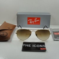 RAY-BAN AVIATOR SUNGLASSES RB3025 001/51 GOLD FRAME/BROWN GRADIENT LENS 55MM