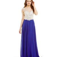 Coya Collection Illusion Beaded Bodice & Back Gown | Dillards