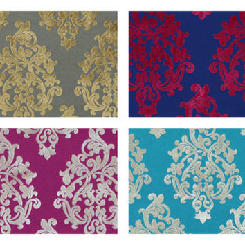 Modern Turquoise Velvet Fabric - Damask Upholstery Fabric by the Yard - Velvet Damask Fabric