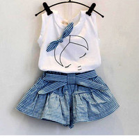 summer style baby girls clothing Sets  lace Cotton Sleeveless T-shirt+Shorts band kids clothes