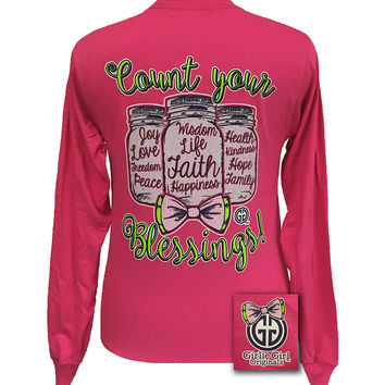 Girlie Girl Mason Jars Count Your Blessings Big Bow Pink Long Sleeves T Shirt