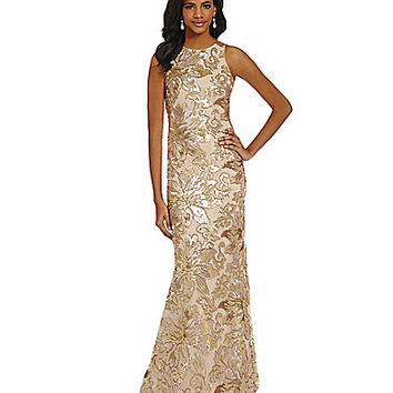 Belle Badgley Mischka Floral Sequin Gown - Rose/Gold