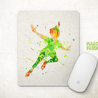 Peter Pan Mouse Pad, Disney Watercolor Art, Mousepad, Never Grow Up, Office Decor, Gift, Art Print, Computer Mouse, Peter Pan Accessories