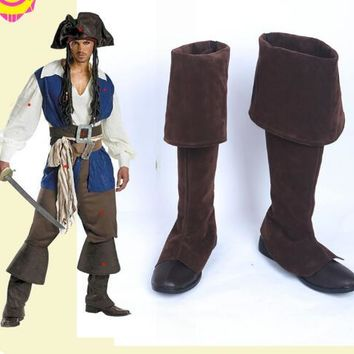 Pirates of the Caribbean Jack Sparrow Captain Jack Cosplay Boots Shoes New Custom made