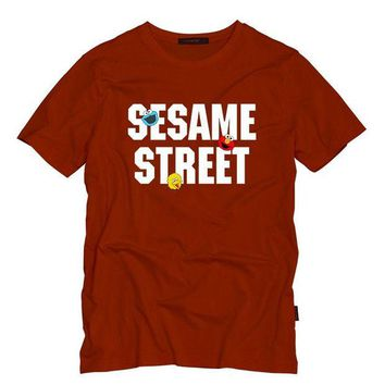 ONETOW Sesame Street Adult T Shirt O-Neck Cotton Summer Mens T Shirts ELMO/BIG BIRD/COOKIE MONSTER Cartoon Print Tops T-Shirts Tees
