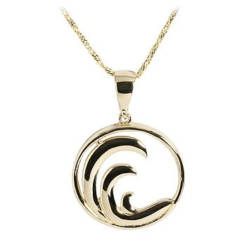 14K Yellow Gold Wave in Circle Pendant(Chain Sold Separately)