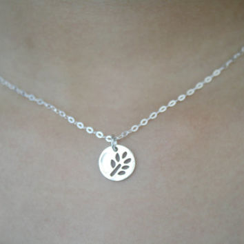 "925 Sterling Silver Necklace with 18"" chain with Leaf Pendant - Leaf Necklace - Disc Pendant Necklace - Layered Necklace - Layering Necklace"