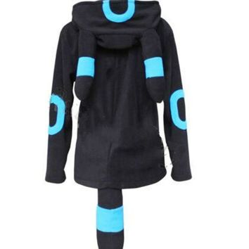 DCCKWQA Anime Pokemon Shiny Umbreon Women Men Zip Hoodie with Ears Tails Cosplay Costume Hoody Jacket Coat Outwear Hooded Sweatshirt