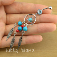 Dreamcatcher belly button jewelry,turquoise belly button rings,gypsy navel ring,piercing belly ring,friendship piercing bellyring