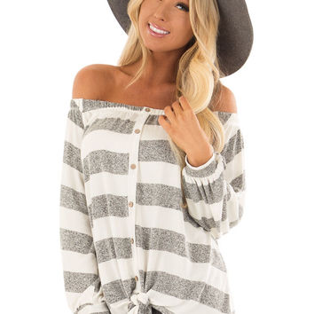 Heather Grey and White Striped Off the Shoulder Top