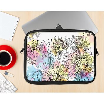The Colorful WaterColor Floral Ink-Fuzed NeoPrene MacBook Laptop Sleeve