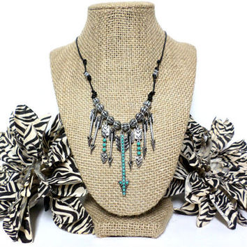 Boho silver, and turquoise bead arrow fringe charm pendant necklace, black knotted leather cord, multiple arrow necklace, gift