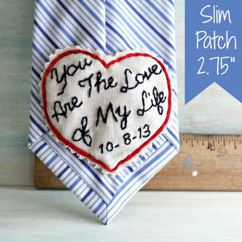 Hand Embroidered Love Note Tie Patch. Slim 3x3 Patch. Groom Gift. Groom Gift from Bride. Bride to Groom Gift. Groom Tie. Necktie. Mens Ties.