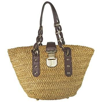 Open Box - Michael Kors Large Basket Woven Cocoa Straw Tote Bag