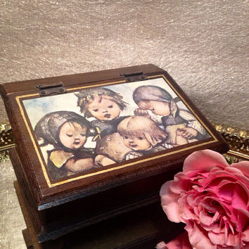 Vintage Hummel Musical Jewelry Box Wooden with Red Interior - Keepsake Music Box Childs Room