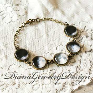 Moon Phase Bracelet, Solar System Bracelet, Planet bracelet, Space, Universe, Planet Jewelry