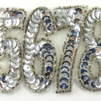 "Numbers 5678 ""Who Do We Appreciate"" Cheer Chant with Silver Sequins and Beads 2"" x 3"""