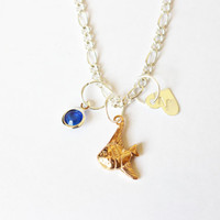 Personalized fish necklace.Initial necklace.Monogram necklace.Personalized necklace.Custom necklace.Birthstone necklace.Fish necklace