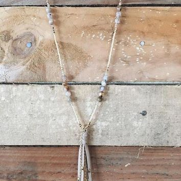 Boho Fringe Beaded Lariat Necklace