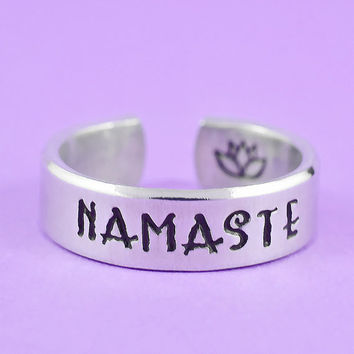 NAMASTE - Hand Stamped Aluminum Cuff Ring, Mantra Yoga Ring, Lotus Flower Ring, Inspirational Ring
