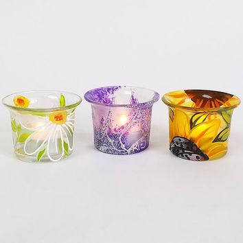Set of 3 Candle Holders Hand painted Tea light holders Home decor White Margaritas Yellow Sunflowers Purple Wedding Holders Birthday gift