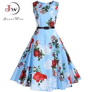 Floral Print Vintage Dress Women Retro PinUp Tutu Dresses Hepburn 50s 60s Rockabilly Robe feminino Vestidos Swing dresses S~3XL