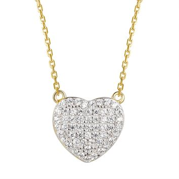 Solitaire Iced Out Heart Pendant 14k Gold Finish Set