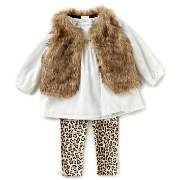 Starting Out Baby Girls 3-24 Months Faux-Fur Vest, Long-Sleeve Top, & Printed Leggings 3-Piece Set | Dillards