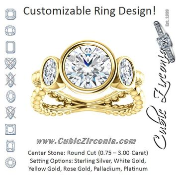Cubic Zirconia Engagement Ring- The a Malisa (Customizable 3-sto ae091ff73c