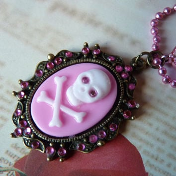 Pink Rhinestone Skull Crossbone Necklace Kawaii - Pink Metallic Ball Chain Short