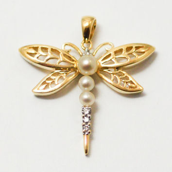 10 Karat Yellow Gold Pearl and Diamond Dragonfly Pendant