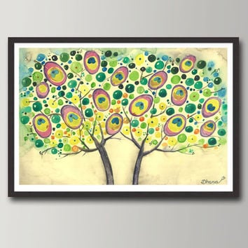 Abstract Painting Peacock  Trees - Colorful dots, Large Art PRINT, Modern Landscape,  Wall & Home decor,  Fine Art Print