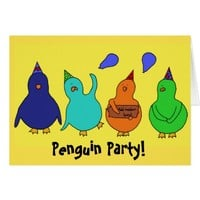 Customizable Penguin Party Birthday (Add number)! Card