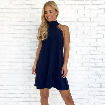 Blown Away Shift Dress in Navy Blue
