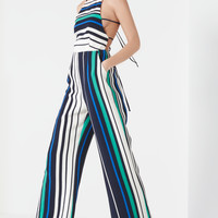 LAVISH ALICENavy, White & Jade Green Stripe Print Open Tie Back Jumpsuit