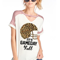 Red Leopard Football Top