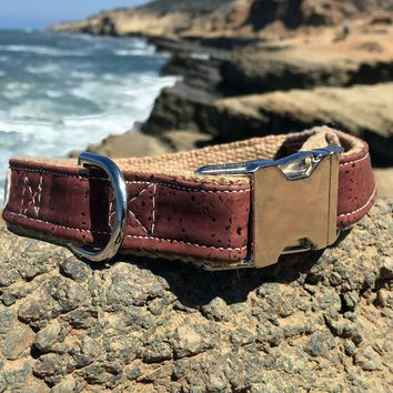 Signature Natural Cork Leather Dog Collar in Red - Tea Stained Hemp Webbing