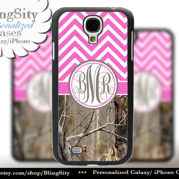Monogram Galaxy S5 case S4 Real Tree Camo Hot Pink Chevron Personalized Zig Zag Samsung Galaxy S3 Note 2 3 Cover Country Girl