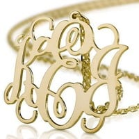 Monogram Necklace 18k Gold Plated Personalized Initial Name Necklace