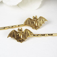 Bat Bobby Pins, Gold Plated, Goth Hair Pins