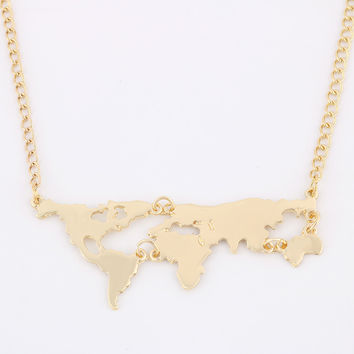 New Fashion Gold Color World Map Pendant Necklace For Women Jewelry 8675