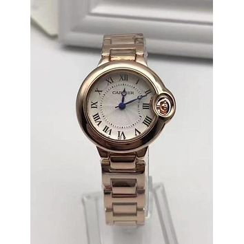 Cartier Women Fashion Luxury Noble Sapphire Simple Wristwatch Watch