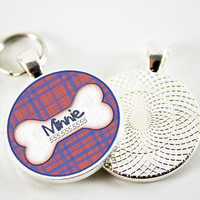 Pet ID Tag with Line Pattern Design by WagAvenue on Etsy