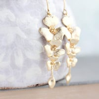 Gold Orchid Earrings, Floral Dangle Earrings, Long Gold Earrings, Bridal Jewelry, Bridesmaids Gift, Cascading Flowers, Nickel Free Earrings