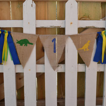 1st Birthday High chair banner DINOSAUR with 1 blue green and yellow 1st birthday photo prop boy birthday decor Ready to Ship